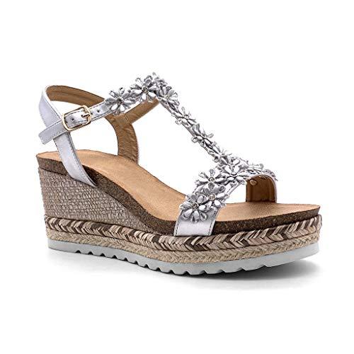 Angkorly - Damen Schuhe Sandalen - romantisch - Abend - Ehe Zeremonie - Blumen - mit Stroh - Geflochten Keilabsatz high Heel 8 cm - Silber 2 YQ09 T 36