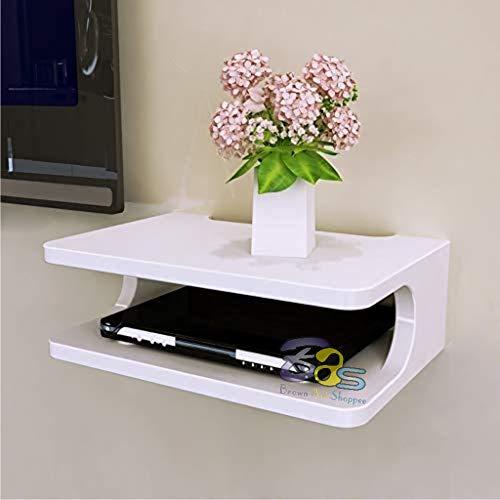 Brown Art Shoppee Set Top Box Stand Wall Shelf & WiFi Modem Rack for Living Room (White)