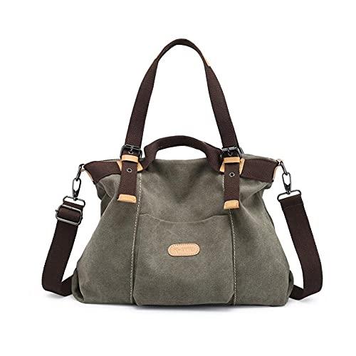 GJGJTER Mujer Bolsos bandolera mano mochila totes Bolso de hombro de lona Carteras y clutches Shoppers y bolsos de hombro-Verde
