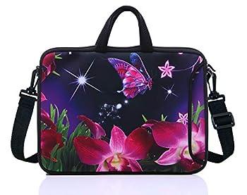 17.3-Inch Laptop Shoulder Sleeve Bag Case With Handle For 17 17.3  Acer Dell Hp Pink Flower