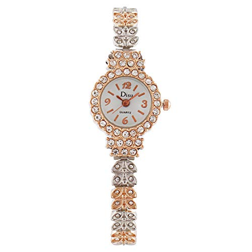 Powzz ornament Versión coreana de las nuevas señoras reloj de moda hoja de diamante pulsera niña reloj-placa blanca Jane oro rosa