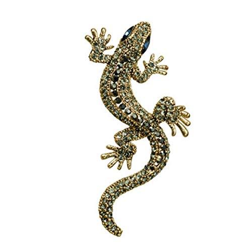 Angoter Collar De La Broche De Diamantes De Imitación Gótica Gecko Lagarto De La Vendimia Pernos Animal Ropa Decoración