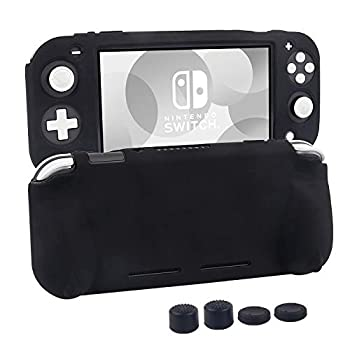 Silicone Protective Case for Nintendo Switch Lite Soft Grip Case Cover with Comfort Ergonomic Handles for Nintendo Switch Lite 2019 [Self Stand][4 Thumb Stick Caps]  Black
