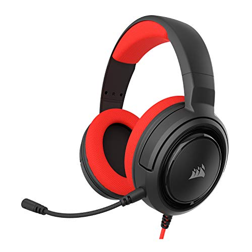 Corsair HS35 - Stereo Gaming Headset - Discord Certified - Memory Foam Earcups - Works with PC, Xbox Series X, Xbox Series S, Xbox One, PS5, PS4, Nintendo Switch and Mobile – Red, 1 Count