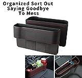 XSH 1 Paire Car Seat Gap Storage Box Filler,Organisateur de Poche Pocket Sac de Rangement étanche à l'eau Boîte multifonctionnelle Premium PU Organisateur de Console de siège en Cuir (Noir)