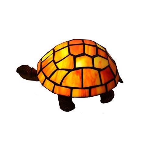 OMGPFR Kreativität Schildkröte Schreibtischlampen, Tiffany Tischlampe LED Retro Jahrgang Nachttischlichter, Befleckt Glasschirm Tischleuchten für Wohnzimmer Schlafzimmer Beleuchtung,Orange