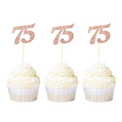 Rose Gold 75th Birthday Cupcake Toppers