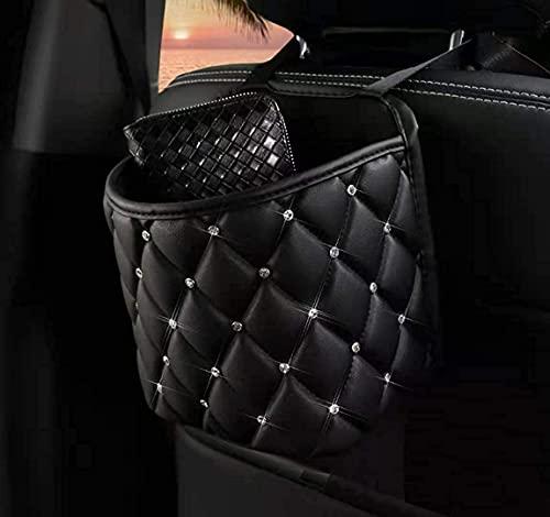 Car Organizer,Car Handbag Holder Luxury Leather Seat Back Organizer Large Capacity Automotive Goods Storage Pocket,Universal Handbag Holder for Girls Women Travel Pocket Bag. (Black-small)
