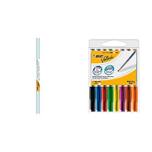 BIC Velleda Rollo 1 unidad, adhesivo pizarra blanca (67 x 100 cm) + Velleda 1741 Caja de 8 unidades, marcadores de pizarra punta media, colores surtidos