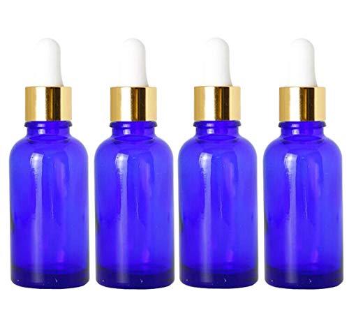 4pcs 30 ml 1 oz vide bouteille de compte-gouttes en verre bleu rechargeable avec tête en caoutchouc blanc et pipette huile essentielle parfum aromathérapie pot pot support cosmétique