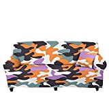 Fundas de sofá para sofá seccional, funda de sofá súper elástica, camuflaje naranja, violeta, antideslizante, fundas de sofá de microfibra para sillón, sofá de dos plazas, protector de muebl
