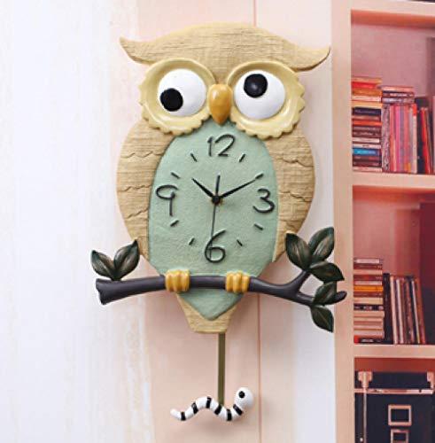 LANKOULI Harz leuchtende Uhr Eule Vogel Schlafzimmer Stille Wanduhr Wohnzimmer Quarzuhr Schaukel Wanduhr-Eulenwanduhr (gewöhnlich)
