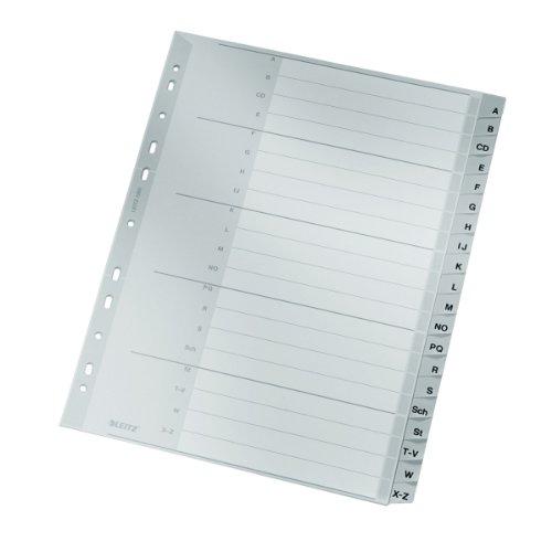 Leitz Register für A4, Deckblatt aus Karton und 20 Trennblätter aus Kunststoff, Taben mit alphabetischem Aufdruck A-Z, Überbreite, Grau, 12600000