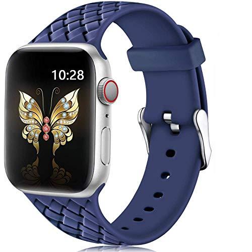 Ternzun Correa de silicona para Apple Watch 6 Band 44mm 40mm series 5 4 3 2 SE Accesorios patrón tejido pulsera iWatch banda 42mm 38mm (38mm o 40mm, azul 2)