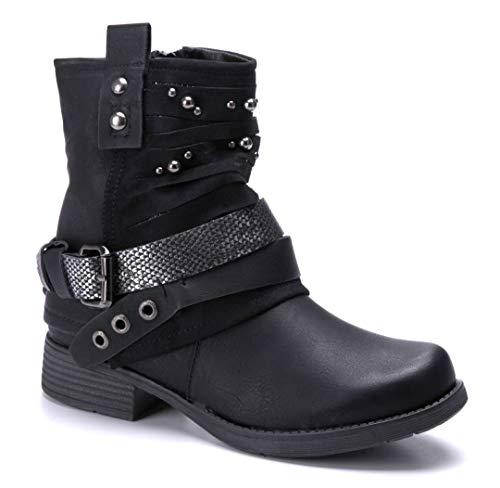 Schuhtempel24 Damen Schuhe Klassische Stiefeletten Stiefel Boots schwarz Blockabsatz Schnalle/Nieten/Glitzer 3 cm