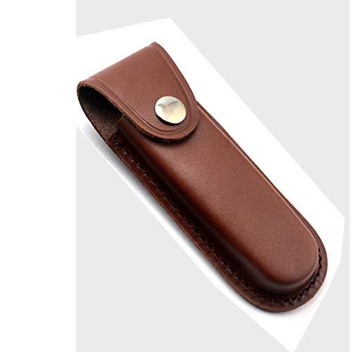 Leather Knife Sheath 5 Inch Slanted Pancake Sheath, Tooled Leather Sheath Belt Clip, Belt Sheath,Trapper Knife Sheath Belt Loop Case Pouch Holder