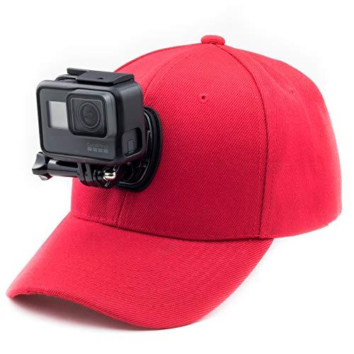 Digicharge Gorra de béisbol con soporte de cámara de acción compatible con GoPro Hero Akaso Crosstour Campark Fitfort Garmin VIRB Apeman Sony Camkong Motorola Victure Kitvision Nikon Cam Rojo