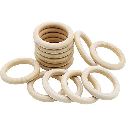 NewZC Natürliche Holzringe 18 Stück 70mm Holzring Schmuck Glatt Holz Kreis für Basteln DIY Handwerk Ring Anhänger und Anschlussstück Schmuck Machen - aus Reines Holz
