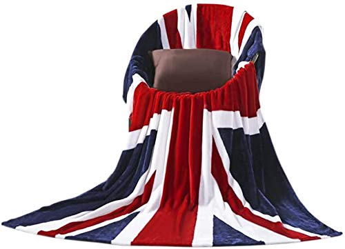 Coperta in pile di flanella con bandiera britannica, 150 x 200 cm, ultra morbida e calda coperta per letto, divano, auto, divano letto, copriletto, copriletto lavabile in lavatrice