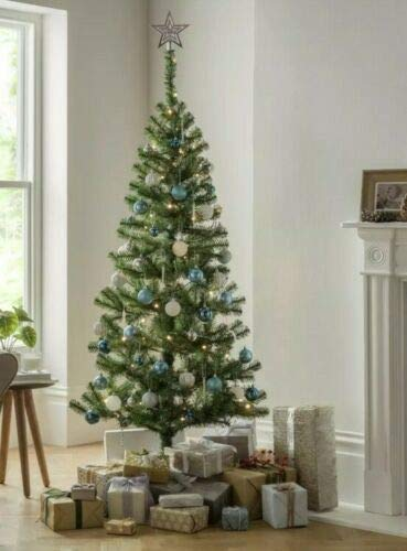 6ft Christmas Tree with Lights & Decs - Silver 319 tips Pre-Lit 100 Warm LIghts