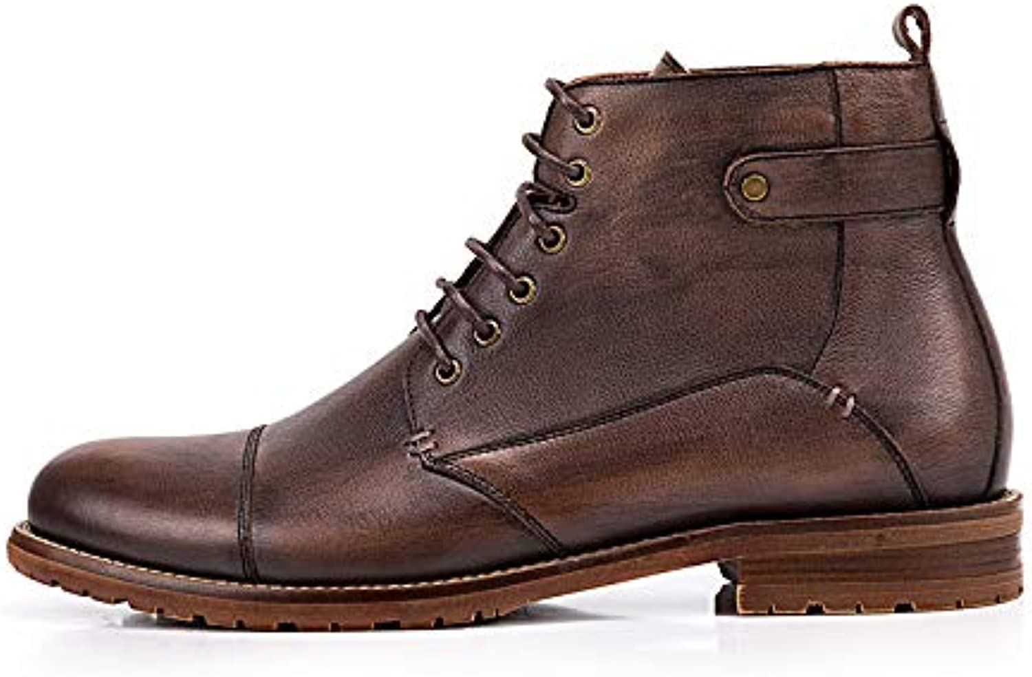 ZHRUI Lace up Chukka Boots for Men Soft Sole Sole Sole Durable Comfort Genuine Leather Boots (färg  svart, Storlek  UK 5.5)  100% fri frakt