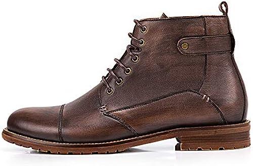 Qiusa Stiefel Chukka con Cordones para Hombre Stiefel de Cuero Genuino Soft Sole Durable Comfort (Farbe   schwarz, tamaño   EU 43)