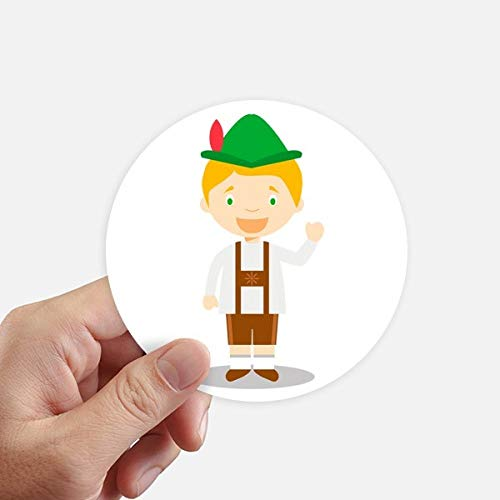 DIYthinker groen bruin Duitsland Cartoon ronde Stickers 10Cm muur koffer Laptop Motobike Decal 8 Stks