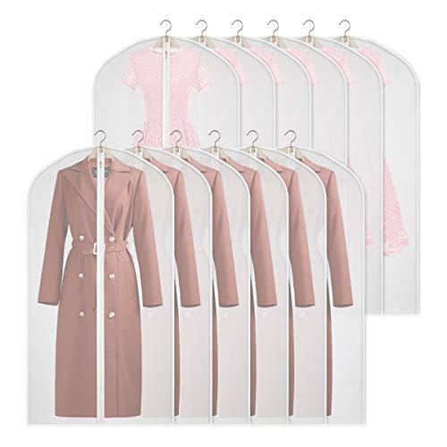 12 x Kleidersack kleiderhülle Abdeckungen Lagerung, Anti-Motten-Schutz, faltbar waschbar für langes Kleid Tanzkostüme (127cm/12pcs-PEVA)
