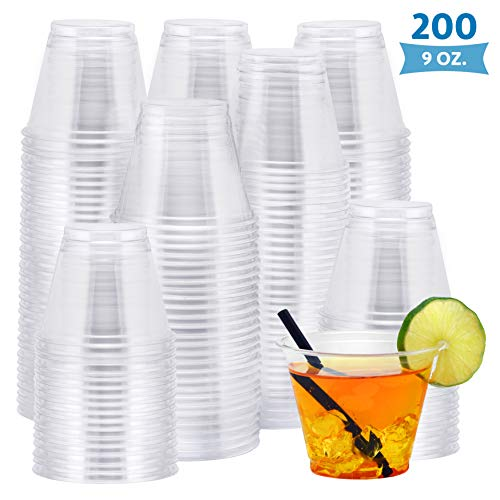 NYHI 200Pack 9 oz Clear Cups | Value Pack Of BPAFree Disposable Party Cup Tumblers | Use These Plastic Glasses For Drinks Cocktails Wine Punch Champagne More | Essential Party Supplies
