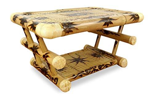 livasia Couchtisch aus Bambus, Sofatisch mit Ablagefach, aus Indonesien (Handarbeit) (Natur/Muster)
