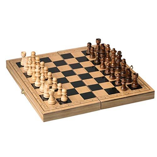 dwkkong Ajedrez de ajedrez magnético de Madera portátil Plegable de Madera Maciza Adecuado para Principiantes Adultos Juego de ajedrez