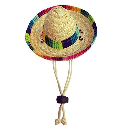 Balai Hund Sombrero Hut, Mini Woven Stroh Sombrero Hüte Mexikanische Hüte Sombrero Party Hüte für kleine Haustiere/Welpen/Katze