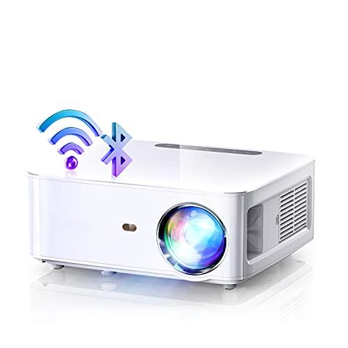 Proiettore WiFi Bluetooth, 2.4GHz+5GHz WiFi, 8000 Lumen Nativo 1080P Full HD e 4K Supporto, Trapezoidale Correzione a 4 Punti Bluetooth 5.0, MTK358 Chip Adatto per Ufficio Home Theater