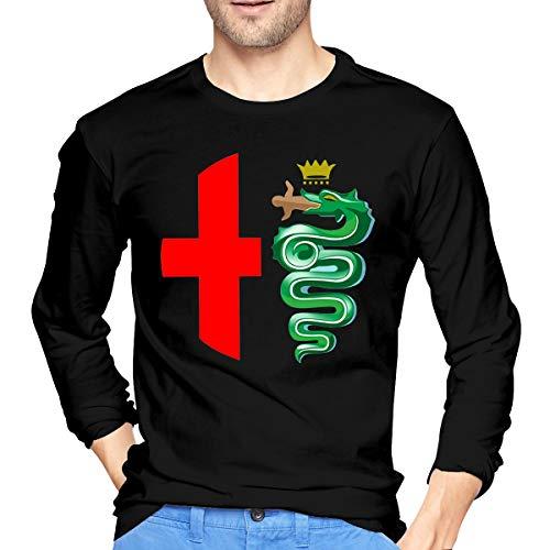 Hengteng Mens New Tee Alfa Romeo Logo Interpretation Long Sleeves Tshirt Black L