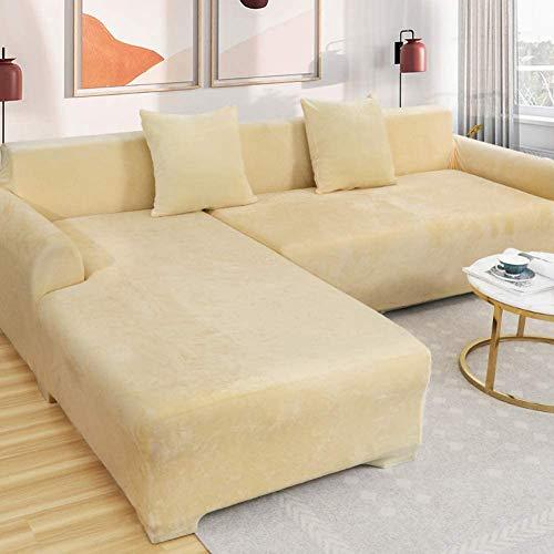 aasdf Samt Plüsch Couch-Abdeckung,1 STK Stretch Sofahusse Slipcover Soft Thick Sofa-Protektor Für L-fürm Sektionalcouch,1 2 3 4 Sitzer