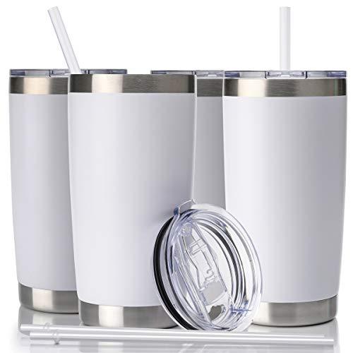 Vaso de café de acero inoxidable de doble pared con aislamiento al vacío y tapa y pajita de Civago de 20 onzas