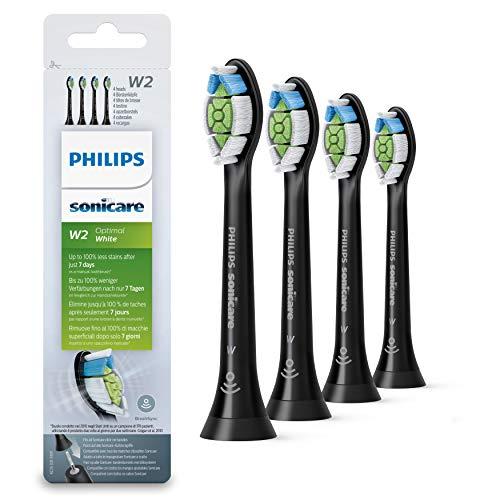 Philips Sonicare HX6064/11 Pack Têtes de brosse blancheur Optimal White W2 (noir) avec BrushSync (X4)