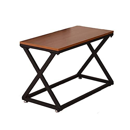DAGCOT Tabla de exhibición, Pantalla de Almacenamiento Pantalla de Mesa con Marco de Metal Estable x en Forma, para Sala de Estar, ensamblaje fácil, marrón rústico (Size : Small)