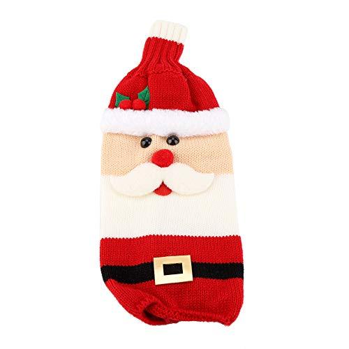 Xmas Kerstman Rode Wijnfles Cover Tassen Gebreide Wijnfles Cover Tas Drank Beschermer Kerstmis Tafel Party Decoratie Ornament 01