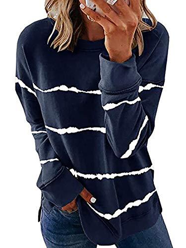 HenzWorld Blusa de Manga Larga con Cuello Redondo para MujerCamiseta Informal para MujerBlusas Sueltas con Estampado de Rayas y Teñido Anudado (Azul MarinoTalla XL)