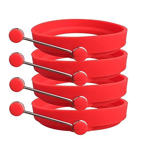 Moule /à p/âtisserie en silicone anti-adh/ésif pour /œufs rouge Forme ronde omelettes et cr/êpes