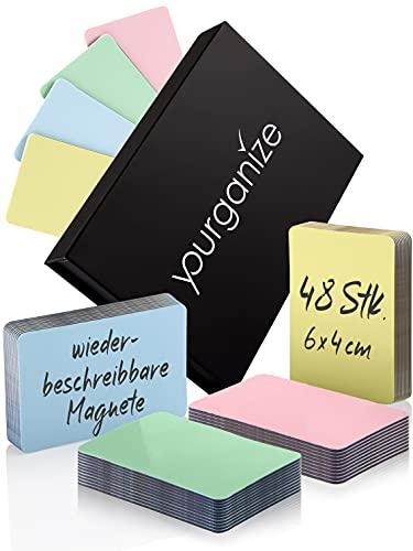 YOURGANIZE - 48 beschreibbare Magnete - 6 x 4 cm, 4 Farben - Magnetschilder zum Beschriften für Whiteboard, Kühlschrank, Kanban Board & Scrum Board - Magnetschilder beschreibbar