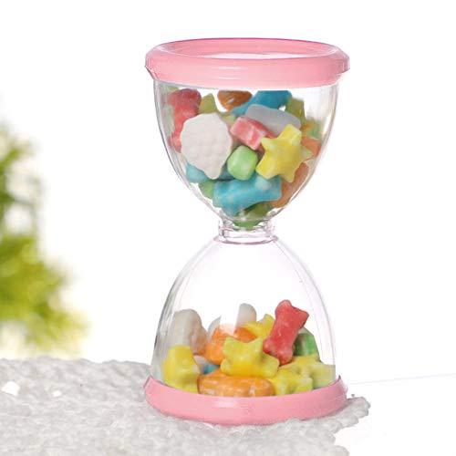 Bediffer Contenedor de caramelo, transparente de alto grado exquisito, caja redonda con 24 cajas de dulces para inauguración de la casa para cumpleaños (rosa)