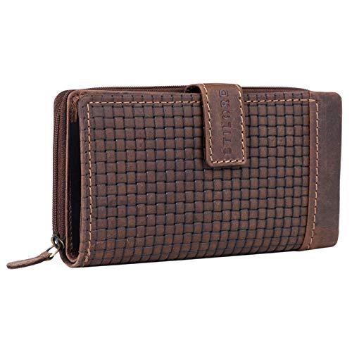 STILORD 'Isabella' Leder Geldbeutel Damen RFID Schutz Vintage Portemonnaie geflochten für Frauen Anti NFC Großer Geldbörse Echtleder mit Geschenkbox, Farbe:Sepia - braun