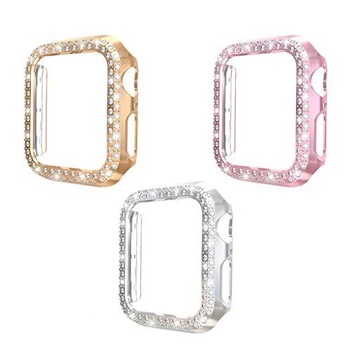 YUYAN Paquete de 3 unidades compatibles con la caja del reloj de 42 mm con protector de pantalla, cubierta de diamantes de imitación dobles marco protector para I Watch Series 3/2/1 niña mujer