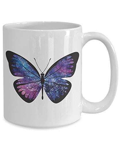 Taza de galaxia con diseño de mariposa, galaxia, galaxia, mariposa, taza de café, taza de té, taza