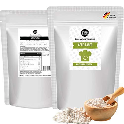 MITOBACK - Apfelfaser zum Backen in 2 x 400 g Packung - Apfelmehl Apfel Faser ideal für Brot & Backwaren - Apfelfasern für saftigere Gebäcke mit längerer Frische (Vegan & Glutenfrei)