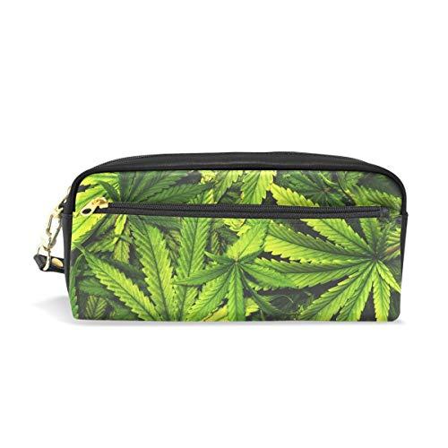 Textura de cannabis Pila de hojas de marihuana Portátil PU Estuche de lápices de cuero Bolígrafo escolar Bolsas de papelería Estuche de bolsa Bolsa de cosméticos de gran capacidad de maquillaj