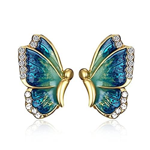 CXWK Pendientes de botón de Mariposa de Cristal Transparente Bonitos a la Moda para Mujer Temperamento Pendiente de cartílago Falso joyería Piercing Regalos