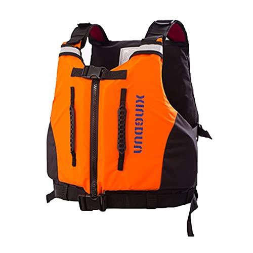 FSDH Chaqueta de Rescate de Nylon Impermeable, con cinturón de Seguridad Ajustable, Adulto Barco portátil natación de natación de Emergencia Kayak Pesca Chaleco salvavida Orange-S